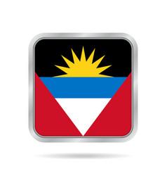 Flag of antigua and barbuda metal square button vector