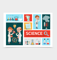 Flat scientific research infographic concept vector