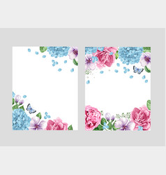 Floral blank template set flowers in watercolor vector