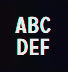 Font with TV Stereo Effect From A to F vector image