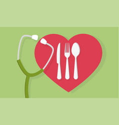 fork spoon and knife with heart shape and a vector image