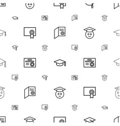Graduation icons pattern seamless white background vector