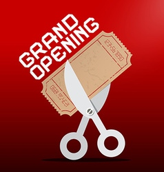 Grand Opening Scissors Cutting Ticket on Red vector