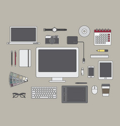 graphic designer items and tools vector image