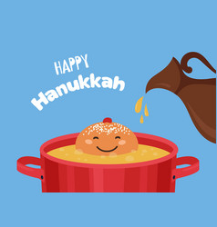 greeting card with funny hanukkah traditional vector image