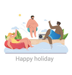 group diverse friends celebrating a happy vector image