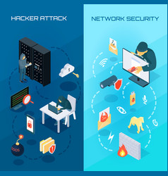 hacker vetrical isometric banners vector image