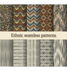 hand drawing ethnic seamless patterns set vector image