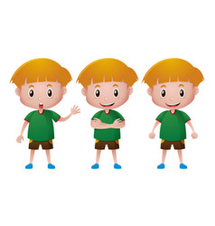 Happy boy in green t-shirt vector