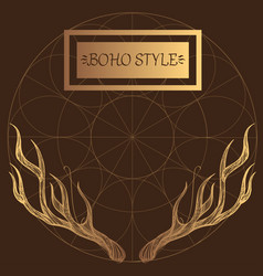Horns elements in the style of boho contour for vector