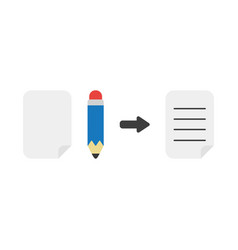 icon concept of blank paper pencil and written vector image