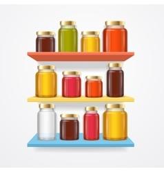 Jam Glasses on Shelf vector image