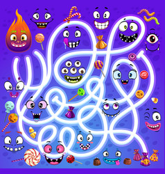 Kid labyrinth maze with halloween faces vector