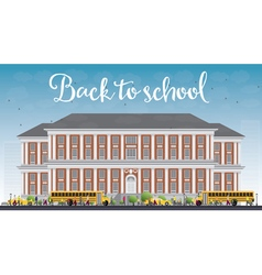 Landscape with school bus school building vector image
