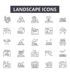 landscapes line icons for web and mobile design vector image