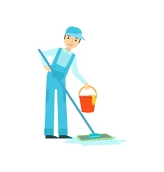 Man With Mop And Bucket Washing The Floor vector