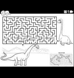 maze game with cartoon dinosaurus coloring book vector image