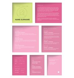 minimalist resume cv template for women vector image
