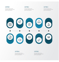 Multimedia icons line style set with drum folder vector