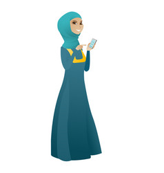 muslim business woman holding a mobile phone vector image