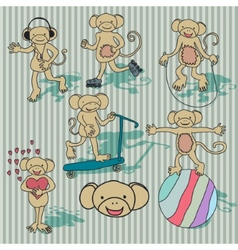 Nice vintage monkey set EPS8 vector