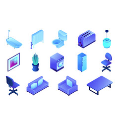 office furniture and bathroom isometric 3d vector image