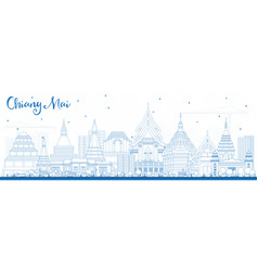 Outline chiang mai thailand city skyline with vector