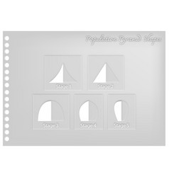 Paper art of different types of population pyramid vector