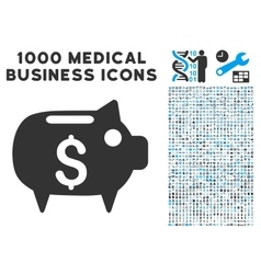Piggy Bank Icon with 1000 Medical Business vector image