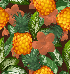 pineapples seamless patter2 vector image
