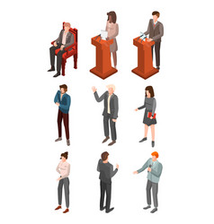 political conference icon set isometric style vector image