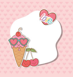 postcard with stickers kawaii vector image