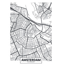 Poster map city amsterdam vector