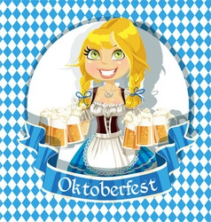 Pretty Blond with a glass of beer banner vector image