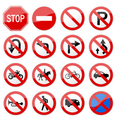 road sign glossy set of road sign glossy vector image