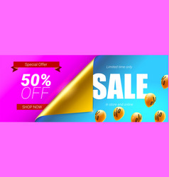 sale fifty percent discount banner with bended vector image