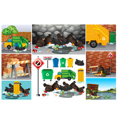 scenes with dirty trash on the road vector image