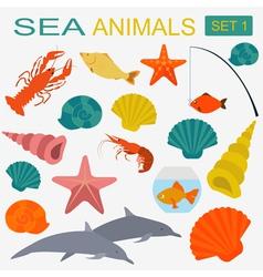 Sea animals icon vector