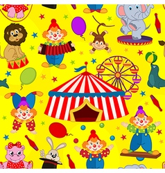 seamless pattern circus with clown and animals vector image