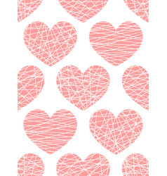 Seamless pattern from stylized pink hearts vector