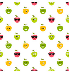 seamless pattern with colorful apples with vector image