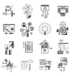 Seo icons set black vector