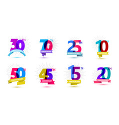 set of anniversary dates compositions with vector image