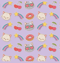 set stickers kawaii pattern background vector image