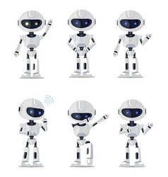 Six pretty ai machines isolated on white backdrop vector
