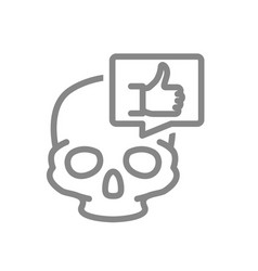 skull with thumb up in speech bubble line icon vector image