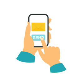 Smartphone in your hand concept send a message vector