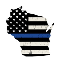 State wisconsin police support flag vector