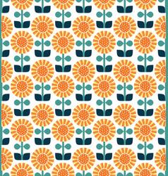 Sunflower pattern yellow orange blue green vector