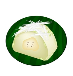 Thai Steamed Sticky Rice with Ripe Banana vector image
